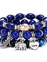 cheap -bohemian bracelets set for women girls multilayer stretch stackable wing tassel love charm crystal beaded beach boho natural stone (elephant blue)