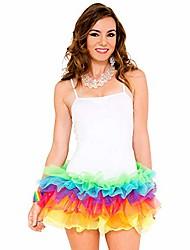cheap -women's rainbow tutu dress, white/rainbow, one size
