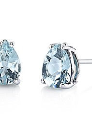 cheap -peora aquamarine earrings for women in 14 karat white gold, classic solitaire studs, 7x5mm pear shape, 1 carat total, friction back