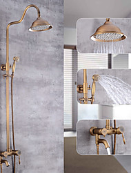 cheap -Shower System,Rustic Nickel Waterfall Pull Out Vintage Style Mount Outside Shower System,Brass Shower System with Rain Shower/Shower Arm/Handshower/Bodysprays/Drain