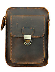 cheap -Men's Bags Cowhide Fanny Pack Mobile Phone Bag Crossbody Bag Zipper Plain 2021 Daily Outdoor Light Coffee Dark Brown Earth Yellow Red Brown