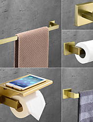 cheap -Bathroom Accessory Set Stainless Steel Include Single Towel Bar Toilet Paper Holder Robe Hook and Towel Shelf Wall Mounted Golden 1 or 3 or 4 pcs