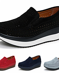 cheap -Women's Loafers & Slip-Ons Comfort Shoes Round Toe Casual Daily Yoga Walking Shoes Suede Solid Colored Black Red Dark Blue