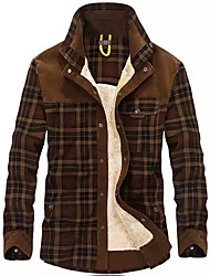 cheap -men's winter thick fuzzy sherpa lined corduroy plaid button up flannel shirt jacket (plaid-green, medium)