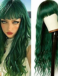 cheap -vvan long wavy hair green body wave wig with bangs dark roots green wig synthetic loose curly wigs full machine wig cosplay party hair wigs for fashion women(24 inches green hair)