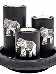cheap -3 wooden candle holders with candle tray – decorative candle holders with inlaid aluminium antique elephant – intricate details – matte wood finish – ideal for modern & rustic settings…