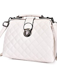 cheap -Women's Bags PU Leather Top Handle Bag Buttons Plaid / Check Daily Office & Career 2021 Handbags MessengerBag White Black Blue Red