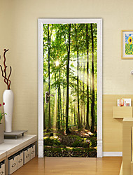 cheap -2pcs Self-adhesive Creative Green Wood Door Stickers For Living Room Diy Decoration Home Waterproof Wall Stickers