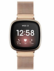 cheap -compatible with fitbit versa 3/fitbit sense bands for women men, stainless steel mesh loop replacement bracelet magnet wristband strap for fitbit versa 3/sense smartwatch (rose gold)