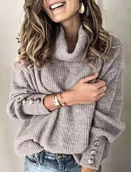 cheap -Women's Basic Knitted Button Solid Color Pullover Long Sleeve Sweater Cardigans Turtleneck Fall Winter White Black Blue
