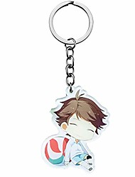 cheap -haikyuu!!! volleyball junior anime peripheral schoolbag cute charm keychain circle pendant cartoon acrylic keychain(h04-5-6cm)
