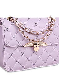 cheap -charm womens quilted evening clutch chain tote handbag shoulder bag purple