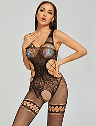 cheap -Women's Mesh Babydoll & Slips Bodysuits Nightwear Rainbow Black One-Size
