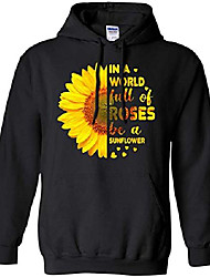cheap -in a world full of roses be a sunflower pullover front pockets hoodie for men women