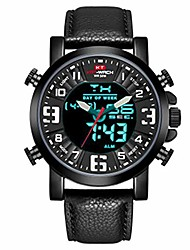 cheap -men sport leather watches luminous watch fuctional sport analog digital wristwatches waterproof watches black