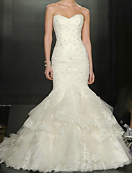 cheap -Mermaid / Trumpet Wedding Dresses Sweetheart Neckline Court Train Lace Tulle Sleeveless Formal Sparkle & Shine with Appliques Cascading Ruffles 2020