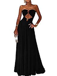 cheap -women's wrap-chest bustier strapless empire evening long dress l black