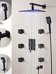 cheap -250*250 Matte Black Shower Faucet Sets Complete with 3 Function Handshower, 6 Massage Body Jet, Wall Mounted Spray Rainfall Shower Head System Contain Shower Faucet Rough-in Valve Body and Trim