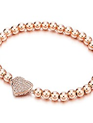 cheap -rose gold beads link charm bracelet for women with cubic zirconia heart charm, polished