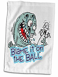 cheap -3d rose funny blame it on the ball bowling humor design hand/sports towel, 15 x 22
