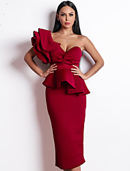 cheap -Sheath / Column Beautiful Back Sexy Party Wear Cocktail Party Dress One Shoulder Sleeveless Tea Length Spandex with Ruffles 2020