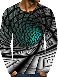 cheap -Men's Graphic Optical Illusion 3D Plus Size T shirt 3D Print Print Long Sleeve Daily Tops Round Neck Green / Sports