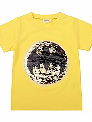cheap -boys girls flip sequin t-shirt cotton short sleeve tee tops 2-8t (3t/100, yellow)
