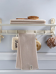 cheap -2Layers Bathroom Towel Shelf with 7 Hooks, White Foldable Hardware Towel Bar with Golden Patterns Aluminum, Wall Mounted 60CM