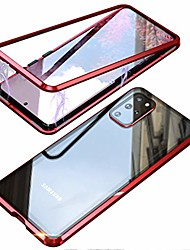 cheap -umtiti compatible samsung galaxy s20 ultra (6.9 inch 2020) case, magnetic adsorption metal frame clear tempered glass back cover with built-in magnet flip with a lens protector (red)