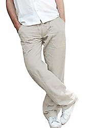 cheap -mens linen pants casual loose fit work elastic waist drawstring golf cargo trousers with pockets loose fit trousers gray