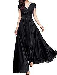 cheap -v neck short sleeve maxi dress for women solid color a-line empire line holiday dresses for women