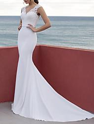 cheap -Sheath / Column Wedding Dresses V Neck Court Train Lace Satin Sleeveless Beach with 2021