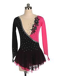 cheap -Figure Skating Dress Women's Girls' Ice Skating Dress Black Spandex High Elasticity Training Competition Skating Wear Crystal / Rhinestone Long Sleeve Ice Skating Figure Skating / Kids