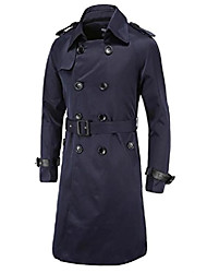 cheap -cameinic men's slim double breasted belted long trench coat jacket overcoat
