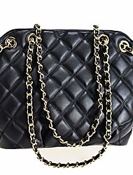 cheap -chain quilted tote bag for women pu leather shoulder handbag satchel purse for girls (tote bag black)