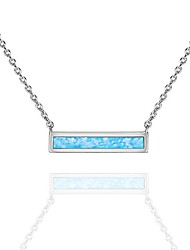 cheap -14k white gold plated thin bar light blue created opal necklace 16-18""