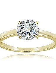cheap -yellow gold flash sterling silver 1ct cubic zirconia 6.5mm round solitaire ring,size 7
