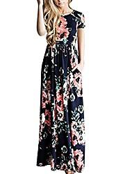 cheap -women's summer casual long dress short sleeve high waist maxi dresses pockets l