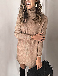 cheap -Women's Sweater Jumper Dress Short Mini Dress - Long Sleeve Solid Color Print Fall Turtleneck Plus Size Elegant Slim 2020 White Red Blushing Pink Khaki Green Gray S M L XL