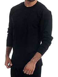 cheap -men's thermal black 100% cotton(240 gsm) soft long sleeve fitted t-shirt top (xs, black)
