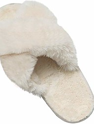 cheap -fuzzy slippers for women womens fluffy furry fluff fuax cross band fur sandals slides house soft winter arch support footed nonslip soft (2-white, numeric_7)