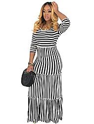 cheap -maxi dresses for women casual summer - elegant long sleeve striped fall dresses black l