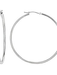 cheap -14k gold classic hoop earrings, 2'' diameter (white-gold)