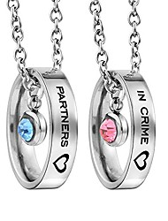 cheap -matching necklaces for couples, his and hers engraved rhinestone ring pendant gifts for boyfriend girlfriend