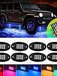 cheap -rgb led rock lights, multicolor neon underglow waterproof with rf control &timing & flashing &music mode for car atv suv motorcycle(8pods)