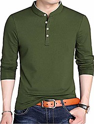 cheap -mens polo t shirts long sleeve slim fit casual cotton stretchy collared shirts for men (army green, s)