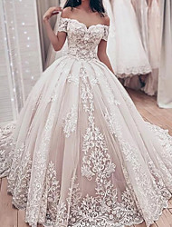 cheap -Ball Gown Wedding Dresses Off Shoulder Watteau Train Lace Tulle Sleeveless Formal with 2021