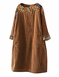 cheap -dresses for women plus size long sleeve vintage pockets corduroy patchwork casual loose dress blue