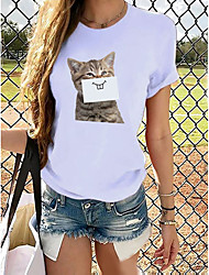 cheap -Women's T shirt Butterfly Graphic Prints Round Neck Tops 100% Cotton Basic Top Cat White Purple