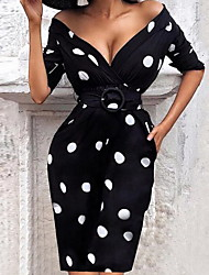 cheap -Women's Sheath Dress Knee Length Dress Black Long Sleeve Polka Dot Print Fall V Neck Elegant Casual Party Slim 2021 S M L XL